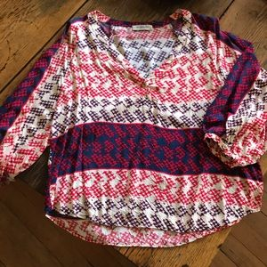 Red, blue and cream print blouse